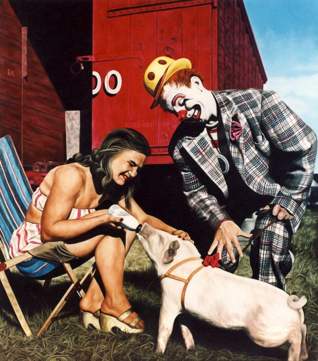 Clown, Woman and Pig - Richard Moon